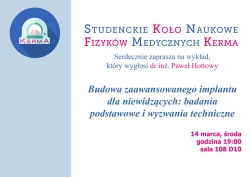 """"""" Budowa zaawansowanego implantu dla niewidzących: badania podstawowe i wyzwania techniczne"""" – Seminarium"""