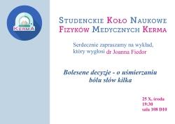 """Seminarium 25.10.17 – """" Bolesne decyzje- o uśmierzaniu bólu słów kilka"""""""