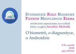 "Seminarium ""O biometrii, o diagnostyce, o Androidzie""."